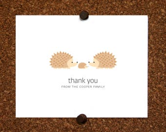 Hedgehogs Baby Thank You Cards. Baby Shower Thank You Cards. Twin Baby Thank Yous. Personalized Stationery (Set of 10)