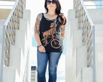 Dachshund on a Bike Womens Slouchy Tank, Ladies Tank, Tri Blend Tank, Handmade graphic tank top, sizes S-XXL