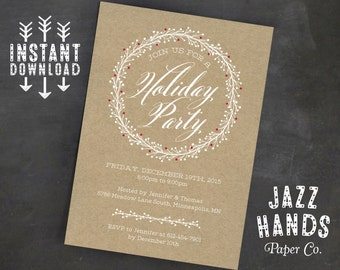 Christmas Party Invitation Template | DIY Printable | Holiday Party Invitation | Rustic | Kraft Paper | Wreath | Rustic Holiday