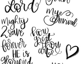 Hand Lettered Words, Jehovah Jireh, Wordfetti, Bible Journaling