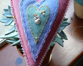 Felt Hanging Heart Waldorf Heart One of a Kind Heart Ornament Home Decoration Heart