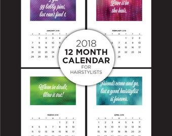 2018 Calendar, hairstylist, gift for hairstylist, Hair Salon, Hair, Printable, quotes, sayings, wall decor, cosmetologist, hair dresser