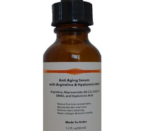 Argireline Anti Aging Serum with Vitamin B3 Niacinamide, Vitamin C, Vitamin E, CoQ-10, DMAE, and  Hyaluronic Acid 1.2oz