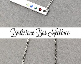 Birthstone Necklace Bar Necklace Birthstone Bar Necklace Mothers Day Gift Grandma Gift Mom Gift Christmas Gift Her Family Necklace Crystal