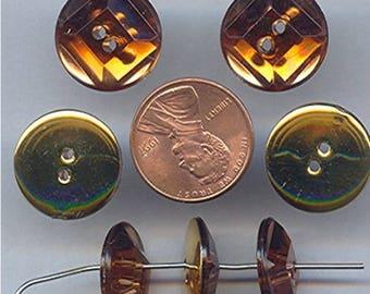 50 Retro Topaz Jewel Acrylic Deco Raised Round Buttons (g201,g227)