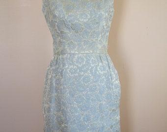 60s Ice Blue Floral Brocade Suzy Perette Wiggle Dress Size Medium