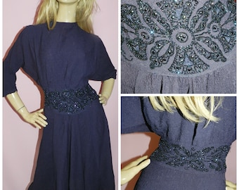 Original 20s ART DECO BEADED Batwing Flapper dress 12 M 1920s Vintage Evening Party Navy Gatsby