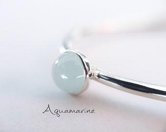 Aquamarine Stacking Ring, Aquamarine Ring, Natural Gemstone Ring, March Birthstone, Aquamarine, Gemstone Stacking Ring, Aqua, Gift