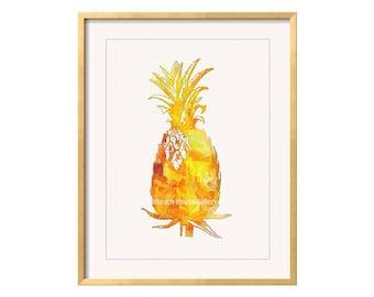 Pineapple Wall Art, Pineapple Print, Pineapple Decor, Pineapple Painting, Yellow Wall Art, Kitchen Wal Art, Tropical Pineapple, Yellow Art