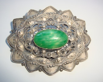 Large Vintage Ornate Metal Coat Pin