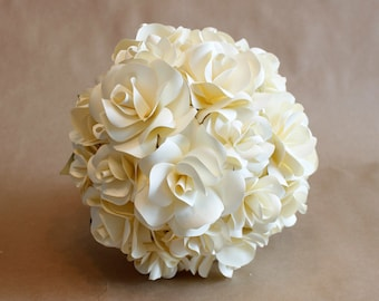 Paper Bridal Bouquet - Roses - 6 - 8 - 10 - 12 inch
