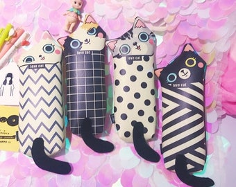 Cute Kitty Pencil Case Kawaii Cat Pencil Bag Funny Storage Pouch Zipper Storage Bag Leather Stationery