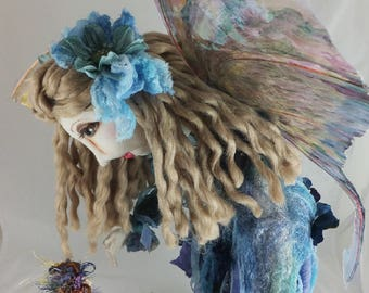 Art Doll-Carin the Large Faery with Her Friend-OOAK Cloth Doll