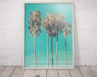 California Art, Palm Print, Blue Decor, Palm Tree Art, Blue Wall Art, California Wall Art, California Wall Print, Blue Home Decor Blue Print