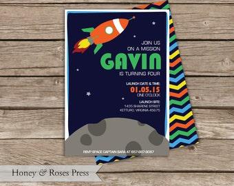 Outerspace Birthday Invite  .  Spaceship Invite  .  Digital Invite  .  Children's Birthday Invitation  .  Printable Invite
