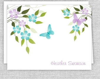 Butterflies and Flowers Spring Note Cards - Set of 10 - Personalized Stationery