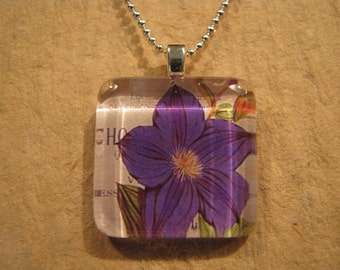 "Purple Clematis Square Glass Pendant with 24"" Ball Chain Necklace Floral Jewelry"