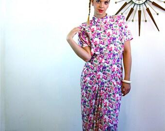 Vintage 80s dress, Bold Print 80s, dress, Floral Pink Purple dress, 80s party dress, APRIL RAIN dress, Huge Shoulder Pads, 80s ladies, M L