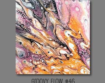 Groovy flux acrylique abstrait peinture #46 prêt à accrocher 8 x 8