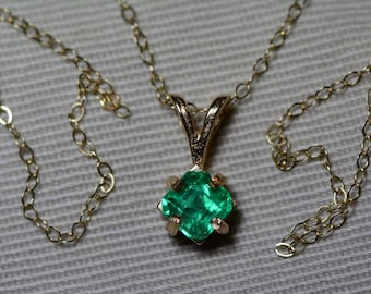 """Emerald Necklace, 14K Yellow Gold Colombian Emerald Pendant 0.63 Carat, Certified Emerald, Real Natural Genuine Jewelry, 18"""" Gold Chain"""