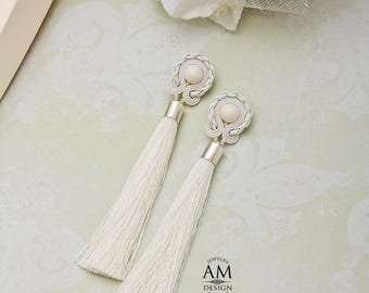 Soutache Earrings Jewelry For Bridesmaid Bridal Earrings Pearl Wedding Earrings White Tassel Earrings Jewelry For Bride