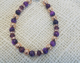 Purple Crazy Lace Agate, Amethyst Swarovski, Rose Gold---Bracelet