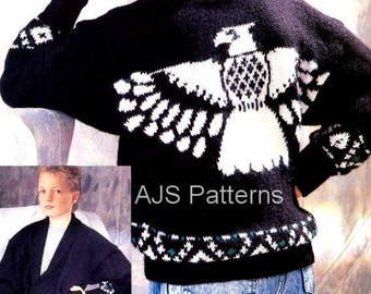 "PDF Knitting Pattern for an American Eagle Jacket 24""  to 34"" - Instant Download"