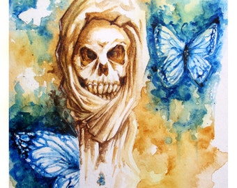Watercolor - skull and butterflies - 24x32cm