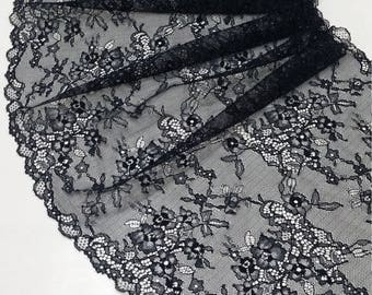 Black lace Trim, Chantilly Lace, French Lace, Wedding Lace, Scalloped lace, Eyelash lace, Floral Lace, Lingerie Lace by the yard J55591