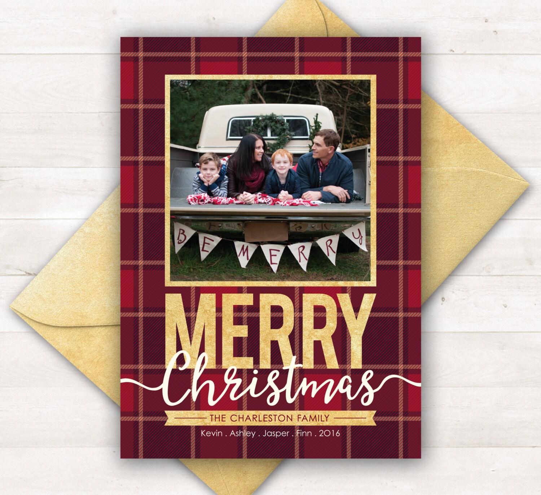 Christmas Cards Photo Holiday Cards Plaid Christmas Card