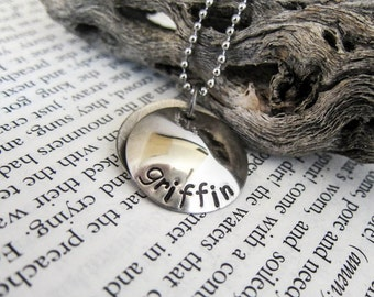 Stamped Locket Disc Necklace with Date of Birth - Custom Mommy, Mummy, Mother Dainty Pendant