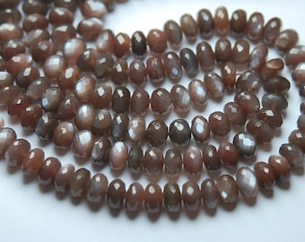 7 Inch Strand,Finest AAA Quality,Natural Chocolate MOONSTONE Faceted Rondelles,8-9mm size