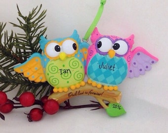 Owl Couple Personalized Christmas Ornament - Custom Names or message - Our first Christmas