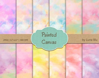 "Canvas Digital paper pack: ""Pastel Digital Paper"" with Painted Canvas Backgrounds in Pastel Colors, painted papers, textured digital paper"