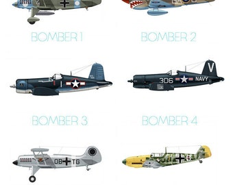 Set of 8 Airplane Boy's Nursery Playroom Wall Art