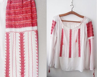 Vintage Romanian blouse ,Red white Embroidery ,hand made Embroidery, Balkan Folk blouse, red white embroidered blouse ,Free shipping