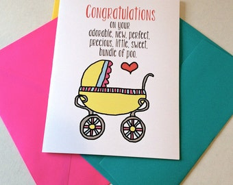Funny New Baby Card - Birth Card - Bundle of Poo