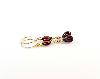 Red Garnet Earrings, Red Gemstone Earrings, Garnet Drop Earrings, January Birthstone Earrings, Gold Earrings, Red Garnet Dangle Earrings
