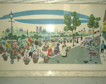 Vintage Print #105 Of Town Flower Market And White Shabby Chic Frame A Lambert Product Made In U.S.A.