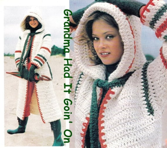 Vintage 70s Crochet Cowl Hooded Coat Pdf Instant