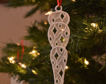 Icicle #4 embroidered lace ornament