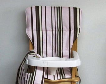 custom eddie bauer wooden high chair pad, brown stripes on pink with matching bib, replacement cover, feeding chair, baby furniture, decor