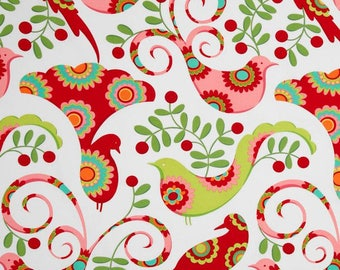 Christmas Pretty Bird Santa Red ~ Michael Miller Christmas Fabric