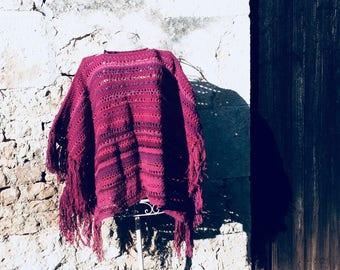 Blanket poncho, free shipping, boho colors wrap, square crochet poncho