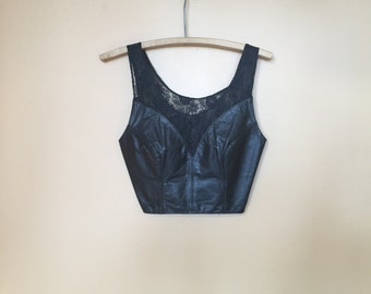 Vintage Leather Lace 1990s Halter Top