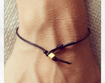 Bracelet Simple 01 Gold Leather Handmade - Black (B401GD-LBK)