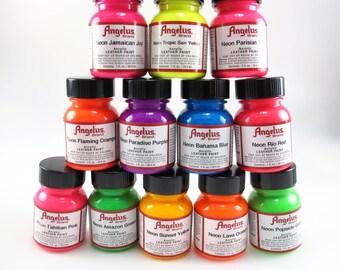 Neon Angelus Acrylic Leather Paint Pack 12pk