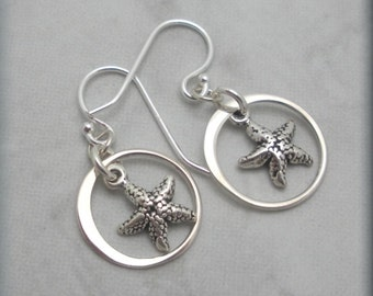 Starfish Earrings, Star Fish Earrings, Beach Earrings, Ocean Earrings, Beach Jewelry, Sterling Silver, Nautical Earrigs
