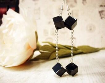 Statement earrings Dangle earrings Geometric earrings Onix earrings Cube earrings Post earrings Crystal Earrings Tiny earrings Dangle Cube