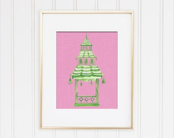 Chinoiserie Pagoda Print, Preppy Wall Decor, Pink Pagoda Painting, Chinese Pagoda Art, Hollywood Regency, Green Pagoda Art